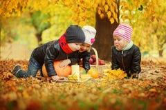 Trois enfants d'amis se trouvant sur des feuilles d'automne avec les potirons et la pomme Photo stock
