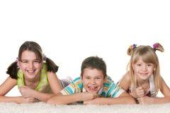 Trois enfants espiègles Images libres de droits