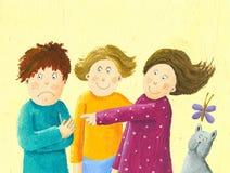 Trois enfants et un jeu de chat Photos libres de droits