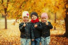 Trois enfants heureux d'amis étreignant et riant en parc d'automne Image libre de droits