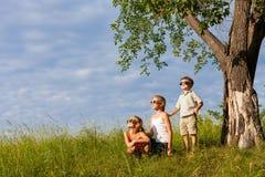 Trois enfants heureux jouant près de l'arbre au temps de jour Photographie stock