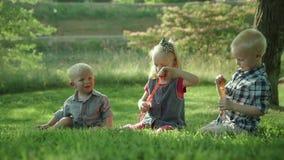 Trois enfants heureux soufflant des bulles de savon en parc seatting sur le mouvement lent Ful HD d'herbe banque de vidéos