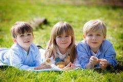Trois enfants préscolaires, enfants de mêmes parents, jouant en parc avec peu Photos stock