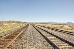 Trois ensembles de courber des voies ferrées Photographie stock libre de droits
