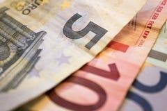 Trois factures euro Photo stock