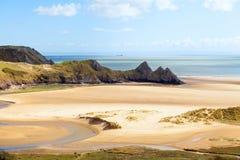Trois falaises dans le Gower Image libre de droits