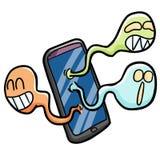 Trois fantômes de couleur sortant du téléphone portable Photo libre de droits