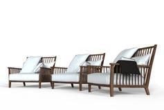 Trois fauteuils confortables blancs Photos stock