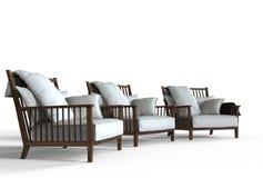 Trois fauteuils confortables blancs - tir de perspective Image libre de droits