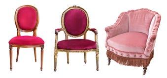 Trois fauteuils magnifiques de cru d'isolement sur le fond blanc Chaises avec la tapisserie d'ameublement rouge et rose images stock