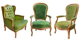 Trois fauteuils magnifiques de vert de cru d'isolement sur le fond blanc photographie stock libre de droits