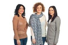 Trois femmes dans une ligne Image libre de droits