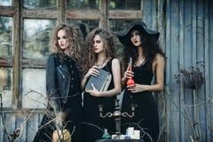 Trois femmes de vintage comme sorcières Photos libres de droits