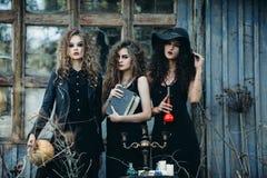 Trois femmes de vintage comme sorcières Photo stock