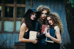 Trois femmes de vintage comme sorcières Photographie stock libre de droits