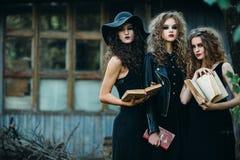 Trois femmes de vintage comme sorcières Photographie stock