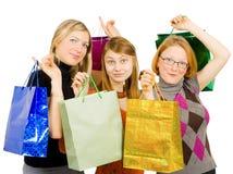 Trois femmes heureux après l'achat Images libres de droits