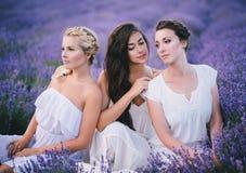 Trois femmes posant dans un domaine de lavande Photographie stock libre de droits