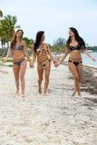 Trois femmes riantes dans des bikinis Images libres de droits