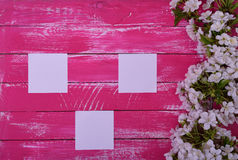 Trois feuilles blanches en blanc sur une surface en bois rose Image libre de droits