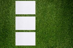 Trois feuilles de papier blanches se trouvant sur l'herbe verte Image stock