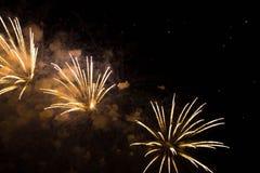 Trois feux d'artifice jaunes dans le ciel nocturne Photographie stock libre de droits