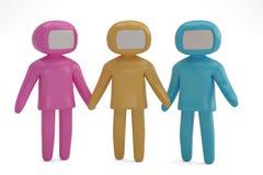 Trois figure les gens sur l'illustration blanche du fond 3D illustration de vecteur