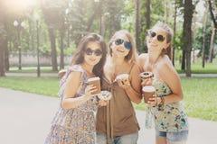 Trois filles élégantes chics de beau jeune boho marchant en parc Photo stock