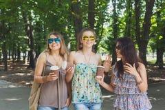Trois filles élégantes chics de beau jeune boho marchant en parc Images stock