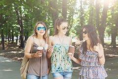 Trois filles élégantes chics de beau jeune boho marchant en parc Image libre de droits