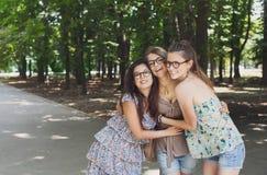 Trois filles élégantes chics de beau jeune boho marchant en parc Image stock
