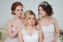 Trois filles dans des robes de mariage Belles filles sensibles dans le salon nuptiale Images libres de droits