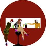 Trois filles dans l'ARRÊT NU illustration de vecteur