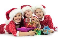 Trois filles de Noël Photo stock