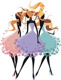Trois filles de silhouette Photos stock