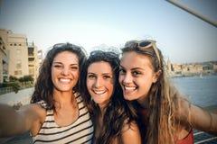 Trois filles des vacances Images libres de droits