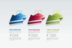 Trois flèches 3 étapes diagram, des éléments, diagrammes, infographics Photos libres de droits