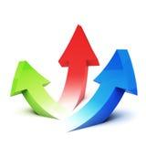 Trois flèches dirigeant la partie supérieure Image stock