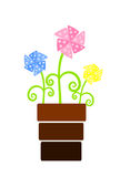 Trois fleurs colorées de ventilateur dans le flowerpot illustration libre de droits