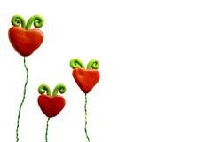 Trois fleurs de coeur Photos libres de droits