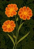 Trois fleurs oranges Illustration Libre de Droits
