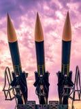 Trois fusées militaires Photographie stock