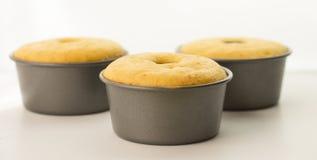 Trois gâteaux en bidons Photographie stock