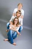 Trois générations avec une ressemblance frappante Photographie stock