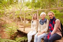 Trois générations des femmes s'asseyant dans une forêt, portrait photographie stock libre de droits