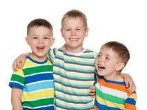 Trois garçons riants joyeux Images libres de droits
