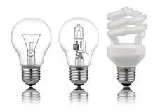Trois genres d'ampoules image stock