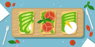 Trois genres d'avocat grillent le beau fond de nourriture avec la planche à découper, les tomates-cerises, les cristaux de sel et illustration de vecteur