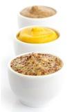Trois genres de moutarde dans une ligne dans la perspective Images stock