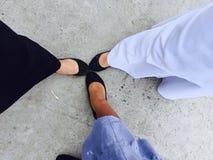 trois genres de pieds unissent photos stock
